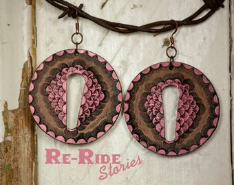 Leather Earrings- Pink Circles