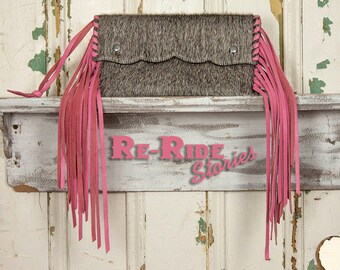 Small Cowhide Fringe Clutch- Pink