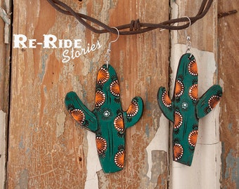 Tooled Leather Cactus Earrings
