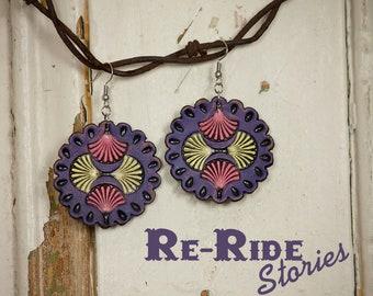 Leather Mandala Earrings- Purple
