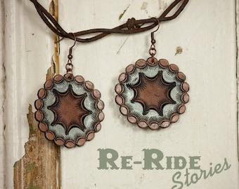 Leather Mandala Earrings- Blue