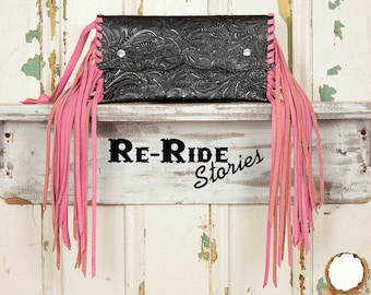 Small Fringe Clutch- Black & Pink
