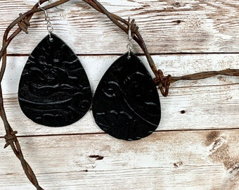 Embossed black leather teardrop earring