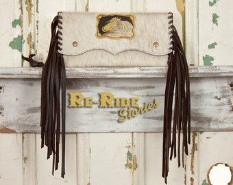 Cowhide Fringe Clutch- Palomino Patch