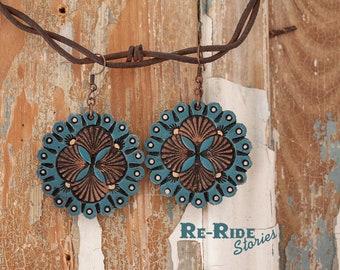 Leather Mandala- Blue Brown