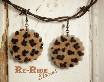 Cowhide Earrings- Cheetah Print