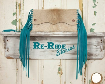 Small Fringe Clutch- Cowhide & Turquoise