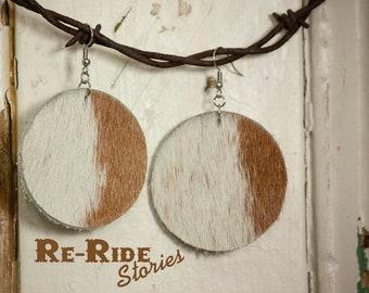 Cowhide Earrings- White Circles