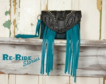 Boot Top Wristlet- Black & Turquoise