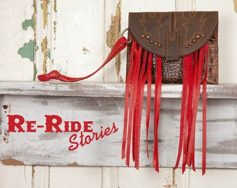Boot Top Wristlet- Red & Brown