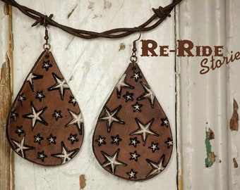 Leather Earrings- Stars Teardrop
