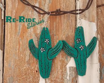 Leatehr Cactus Earrings