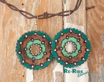 Tooled Leather Mandala- Green