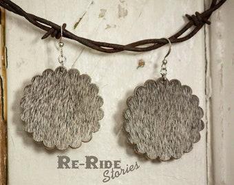 Cowhide Earrings- Scallop Circles