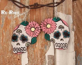 Tooled Sugar Skull- Pink Flowers