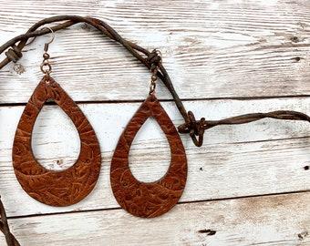 Embossed leather teardrop earring