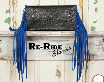 Small Fringe Clutch- Black & Royal Blue