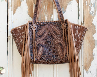 Western Fringe Tote with Boot Tops