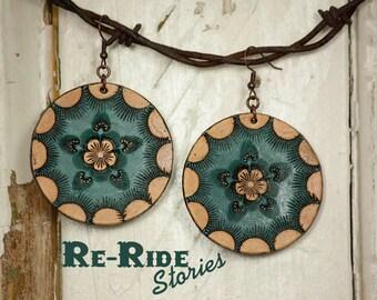 Leather Earrings- Flower Circle