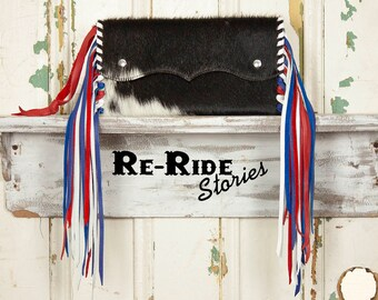 Small Cowhide Fringe Clutch- Red,White & Blue