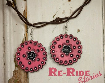 Leather Tooled Earrings- Pink Circles