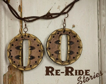 Tooled Leather Earrings- Yellow