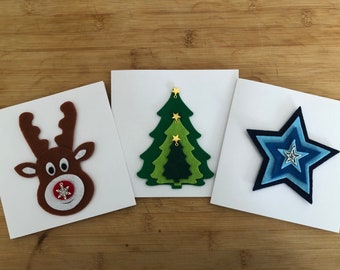 Christmas charm embellished handmade cards in three designs with removable Christmas decorations and charms