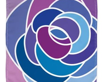 Chiffon silk scarf 90cm x 90cm in rose pattern in red, yellow or blue/purple