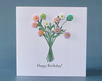Colourful daisy bouquet birthday card with 3D flower embellishments