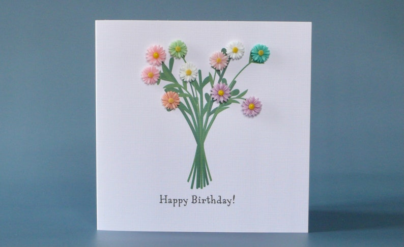 Colourful flower bouquet birthday card with 3D individual image 1