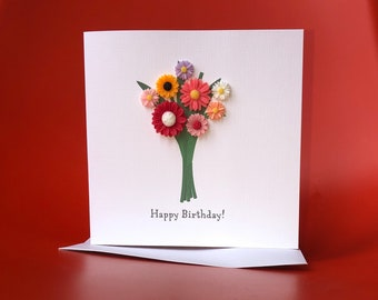 Handmade birthday OR anniversary OR Congratulations card featuring bouquet of flower charms
