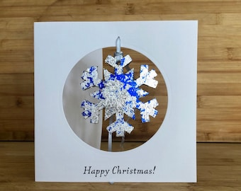 Handmade Christmas card with handfoiled tree decoration - choose angel, tree, star, snowflake or bauble