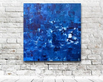 Unfinished (Blue) IV Carol Burns BA, MA (oil on board) original abstract oil painting (80cm x 80cm)