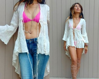 ef0634d982a Handmade Lightweight Crinkly Cotton Long Jacket Bohemian Kimono  Cardigan Festival Cover Up jacket Bikini Cover up Hippie High Low Jacket.