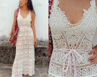 Gorgeous detailed Lace from head to toe crochet boho wedding dress. Sexy beach dress. Party Dress. White Dress. Ibiza girl dress. dream gown