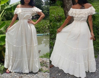 7d606dc928a Beautiful and Elegant Bohemian Off Shoulder Spanish Style White Maxi Wedding  Dress   Gown. Lining Inside. Only one is stock!