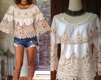 8df49df0ac Handmade Beige and Beautiful Angel Sleeved Women s Blouse. One Size. Flower  Design. Bohemian Women s Tops.