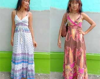 d9861dc2d Vintage Indian Gauze Maxi Dress/Boho Paisley Print Block Maxi dress/Bohemian70s  Indian dress/Women's Maxi dress/Beach maxi Dress/Festival