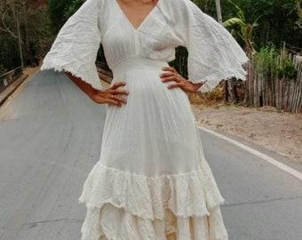 0e055afeebec Handmade Bohemian Wedding Dress/Summer Cotton Maxi Dress/Boho V neck Gown  dress/Layered dress/Angle Sleeve Maxi dress/Gypsy maxi dress.