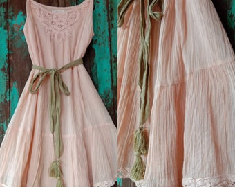 1b3267cc9bb Vintage Salmon color Mini dress Bohemian Lace dress Vintage Women s dress Summer  cotton Mini Dress 70s Style dress Beach festival dress.