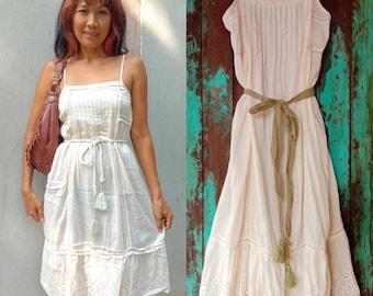 5128246a487 Vintage Cream Embroidered Dress Sundress Beach Cute Dress Bohemian Lace  Dress Boho Sweet dress Romantic cotton dress Summer mini dress.