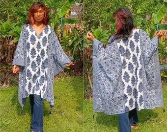 88b0b110ef Handmade Indian Caftan/Bohemian Indian Flora Kaftan/Poncho with  Fringe/Indian Tunic Dress/Blue Caftan/Hippie Poncho/Organic Color.
