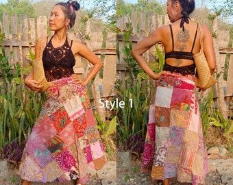0851b9042 Women's Balinese Vintage Batik Patch Work Maxi Wrap Skirt/Boho Batik Flora  skirt. Different Styles and Colors/Hippie wrap skirt.