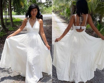 35b6314a5c5 Handmade Halter Maxi Dress Bohemian Lace Maxi Dress Boho Sundress Romantic  Off White Gown Dress Festival High Low Dress DR 011