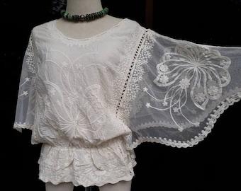 6de382de3bc Sheer Flora Lace Blouse  Boho Women s Lace Top Blouse Lace Ivory  Summer Lace  Blouse Beach Lace Blouse Butterfly Embroidered Lace Blouse.