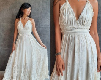Bohemian Wedding DressWhite Wedding Dress Boho Wedding DressMaxi Wedding DressGown Maxi dress Summer Maxi DressResort wear Holiday