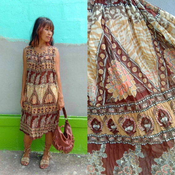 Vintage India Gauze Cotton Dress/Loose Indian dres