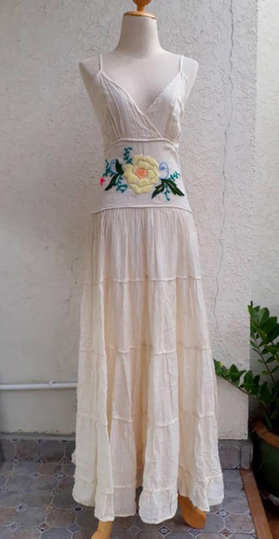 6d6b3fec725f Boho Romantic Embroidered maxi Dress/ Wedding Maxi | Etsy
