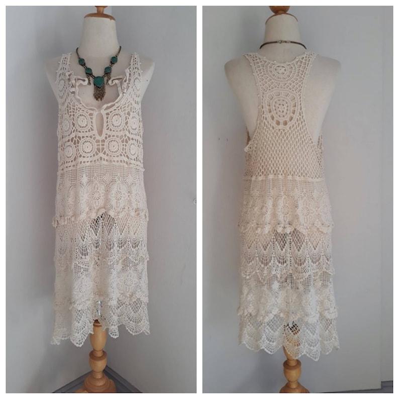 Boho lace dress for womensBikini cover up dressBohemian lace dressRomantic lace dressWedding lace dress 2 colors Black and Off White.