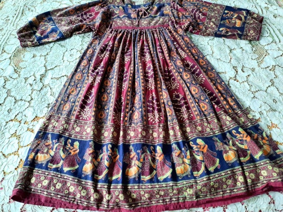 Vintage 70s Indian Dress Maxi Dress, Indian Cotton
